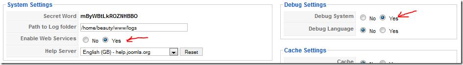 joomla-xmlrpc-test-client-settings