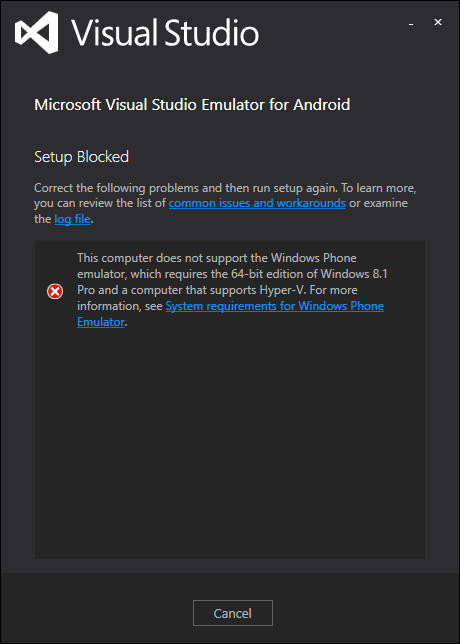 Visual Studio Emulator for Android setup