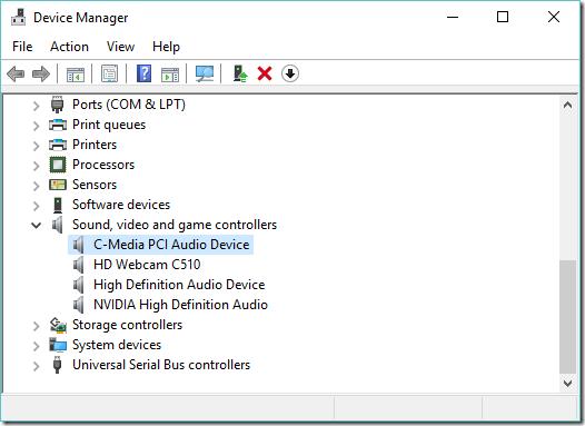 C-Media на Windows 10